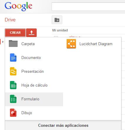 Ve a drive.google.com . Haz clic en crear->Formulario