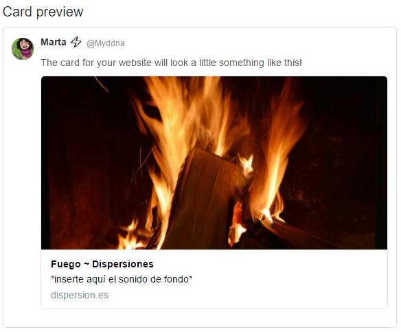 Ejemplo de una twitter card con imagen grande