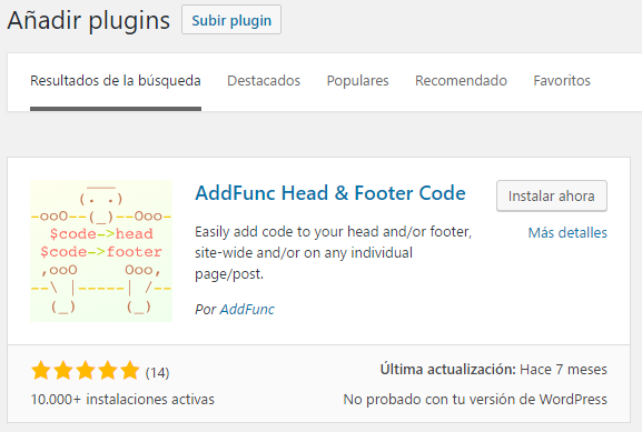 Plugin para añadir código al HEAD en WordPress
