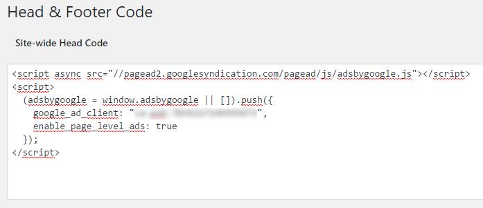 Insertando el código de anuncios a nivel de página en WordPress con AddFunc Head & Footer Code