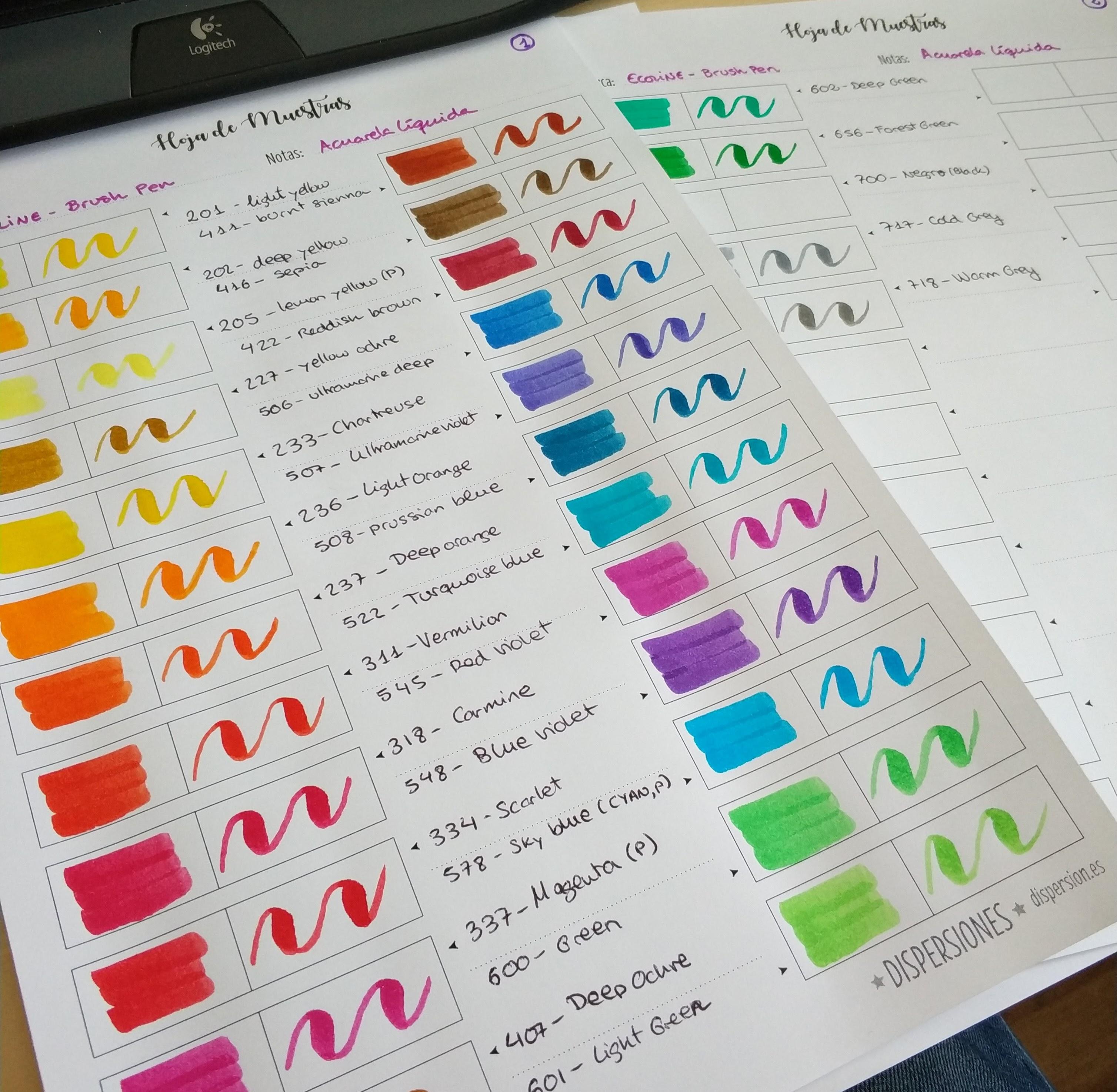 Imprimible: Hoja de muestras de color