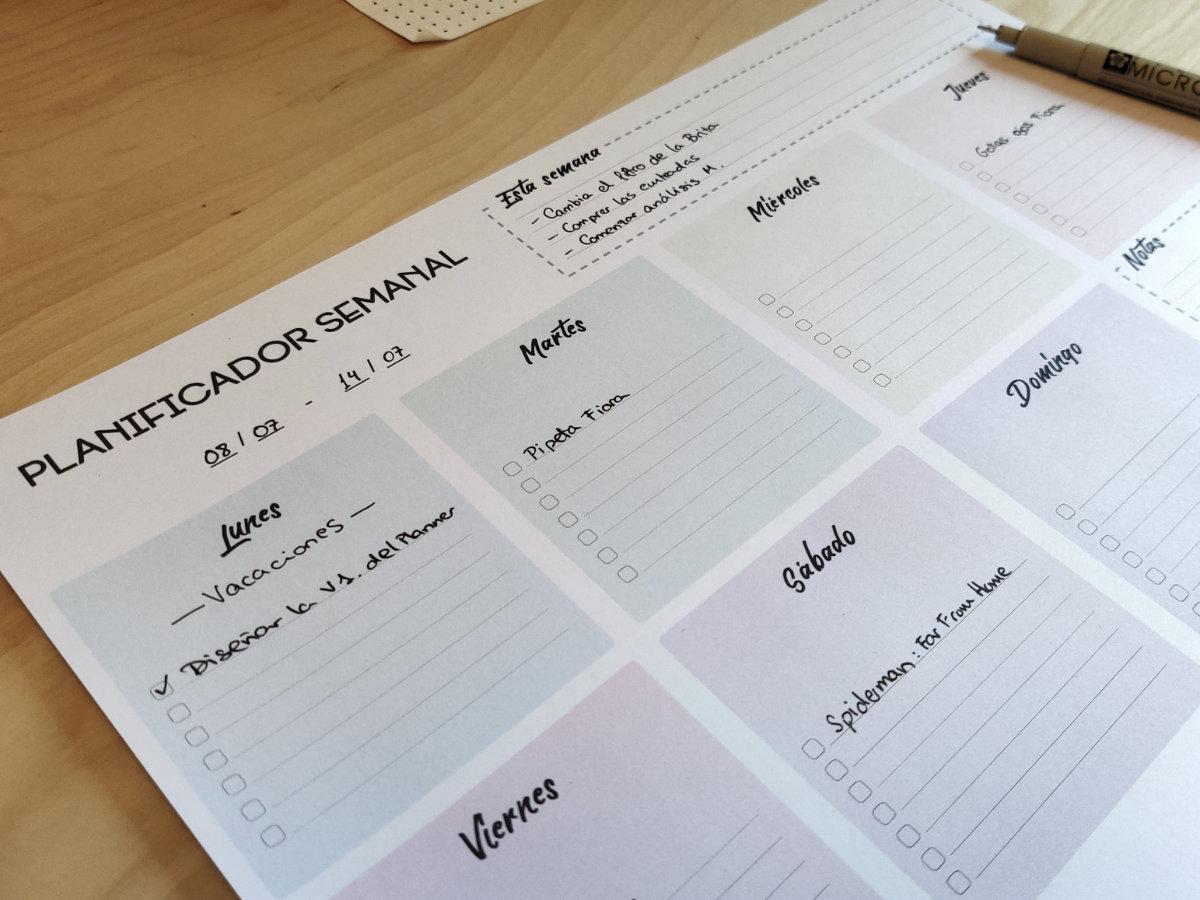 Planificador semanal imprimible de ejemplo