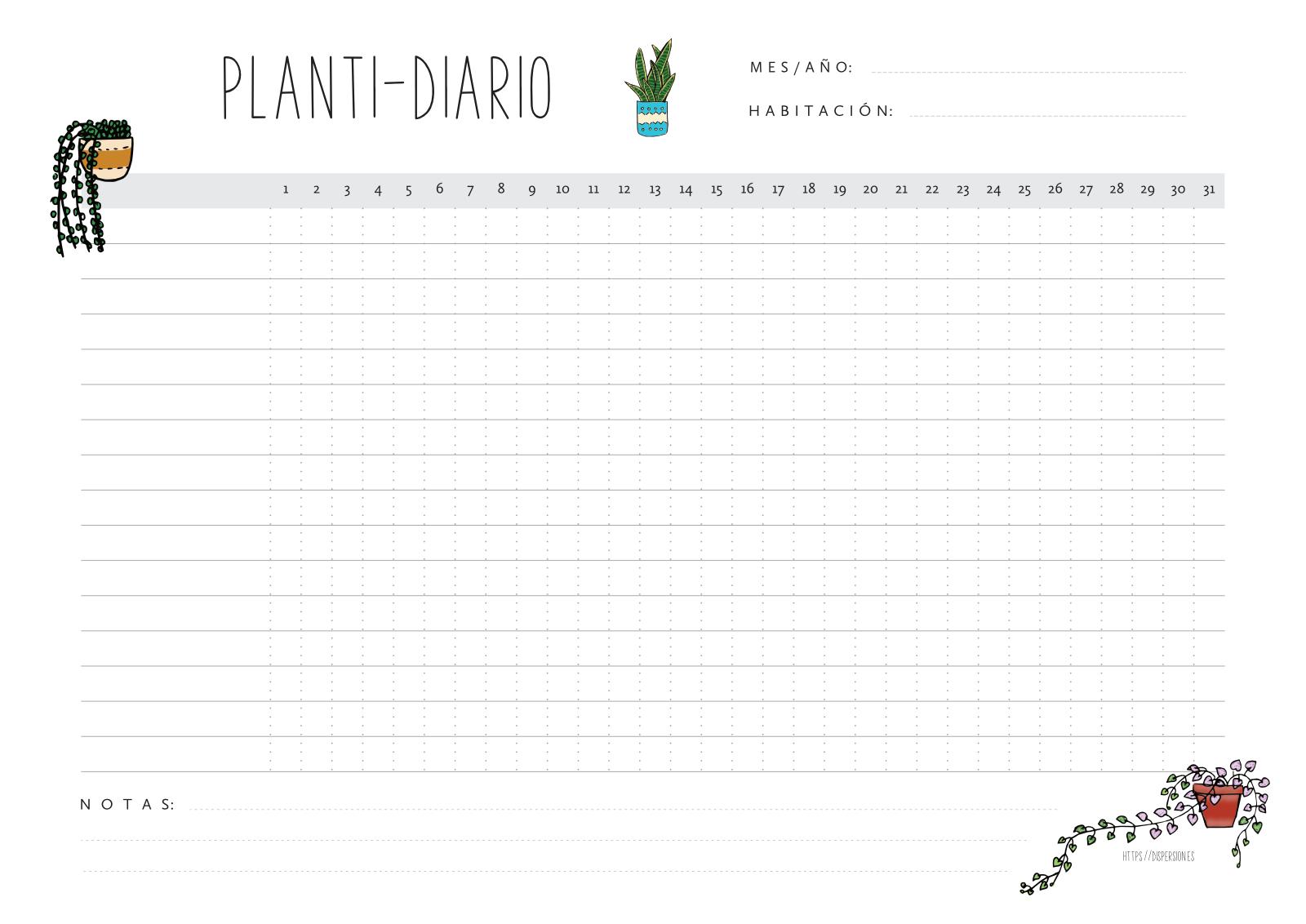 Planti-diario: planificador o tracker imprimible para el cuidado de las plantas